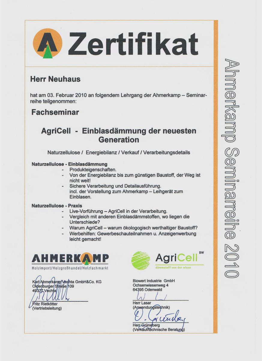 Dämmtechnik Neuhaus Visbek - Zertifikat AgriCell