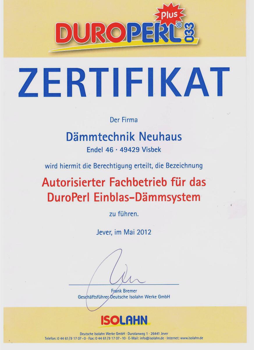 Dämmtechnik Neuhaus Visbek - Zertifikat DuroPerl