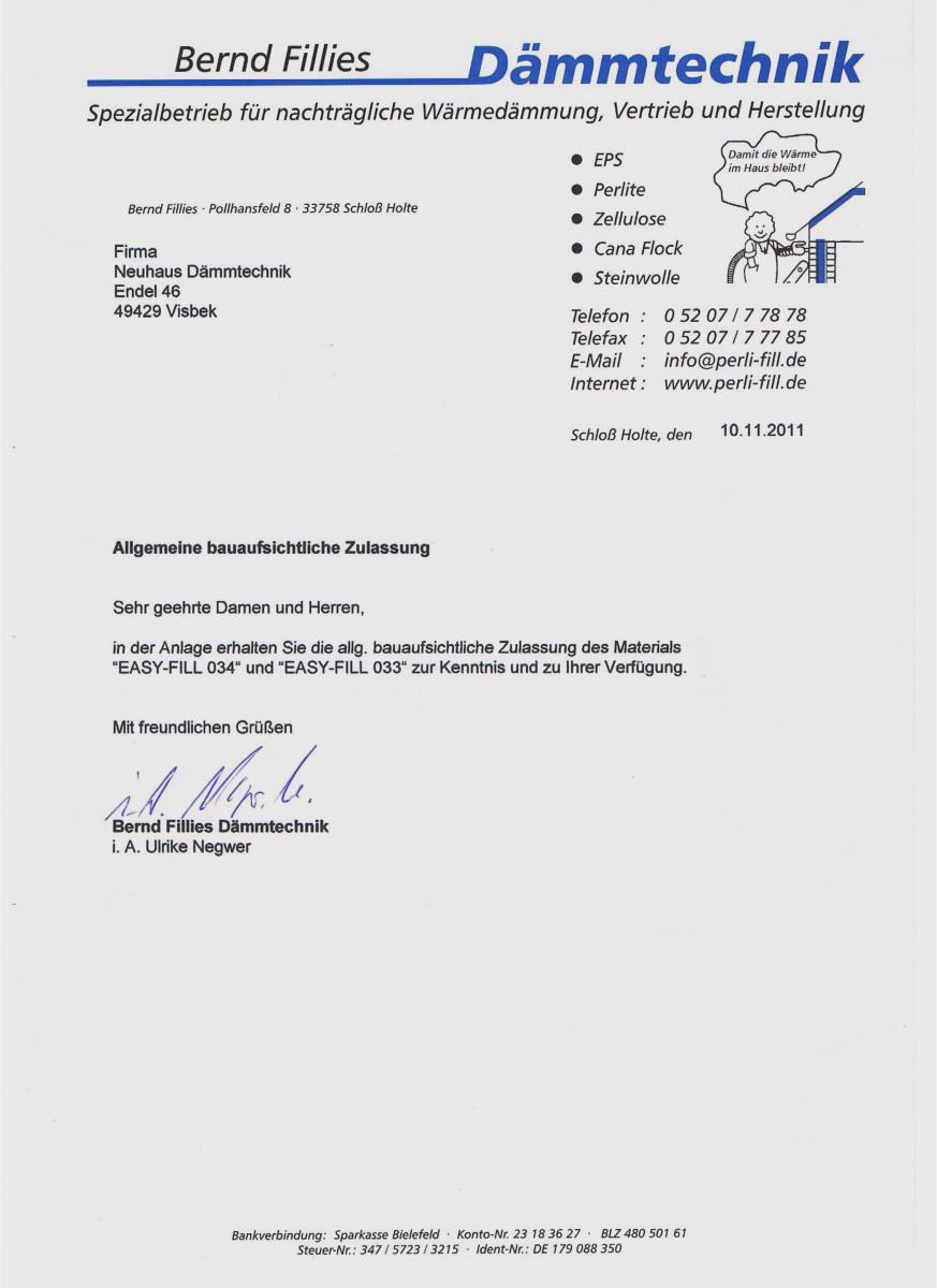 Dämmtechnik Neuhaus Visbek - Zertifikat EASYFILL