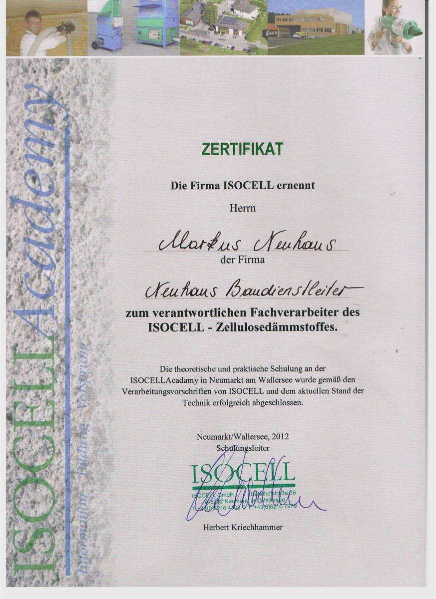 Dämmtechnik Neuhaus Visbek - Zertifikat ISOCELL