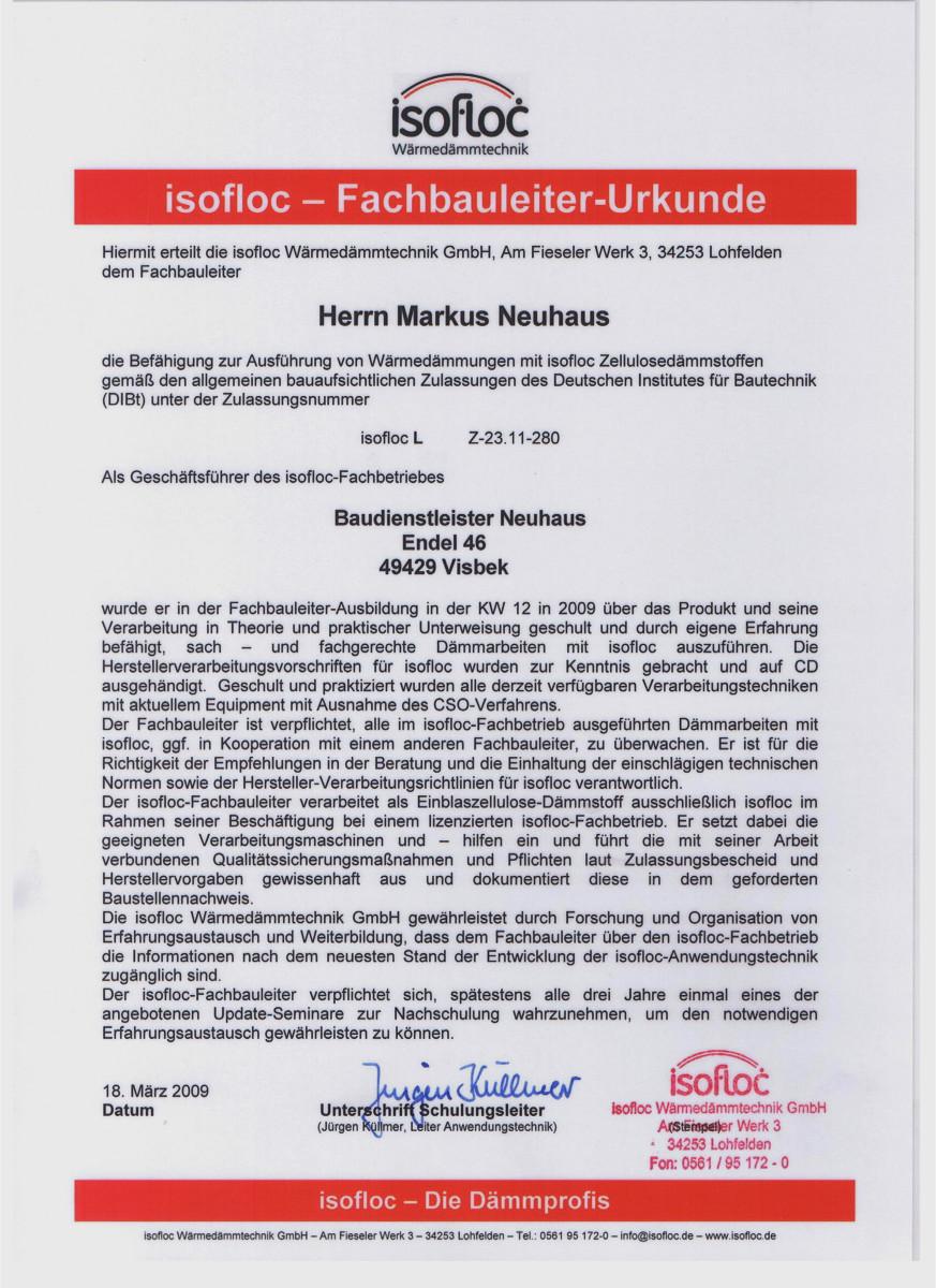 Dämmtechnik Neuhaus Visbek - Zertifikat Isofloc