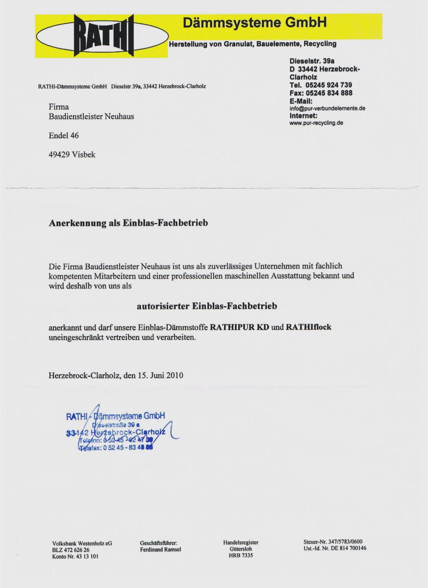 Dämmtechnik Neuhaus Visbek - Zertifikat RATHI