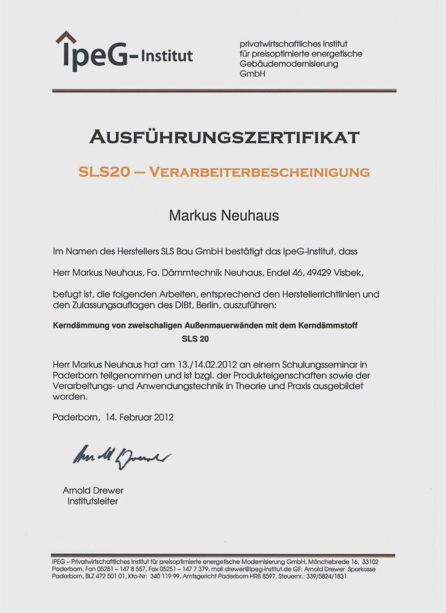 Dämmtechnik Neuhaus Visbek - Zertifikat SLS20