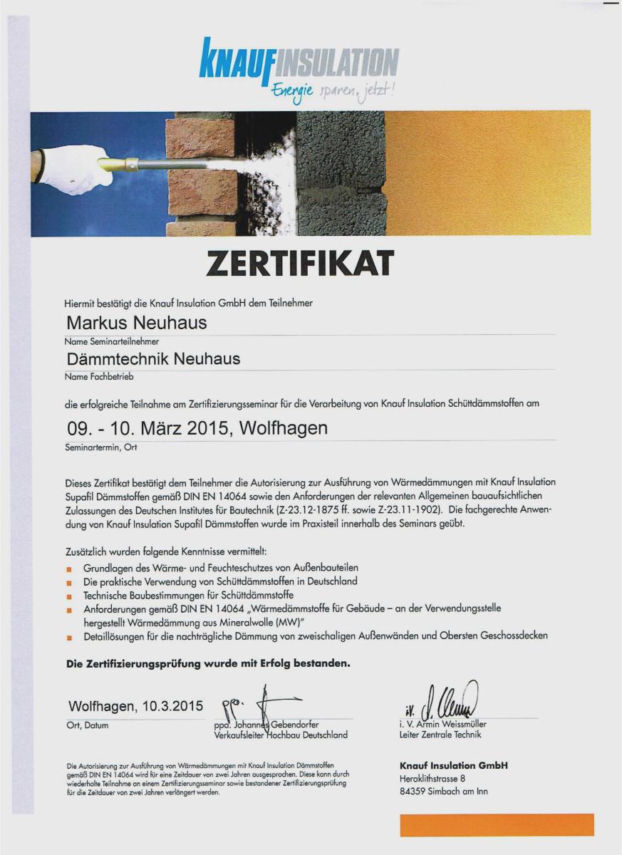 Dämmtechnik Neuhaus Visbek - Zertifikat SUPAFIL