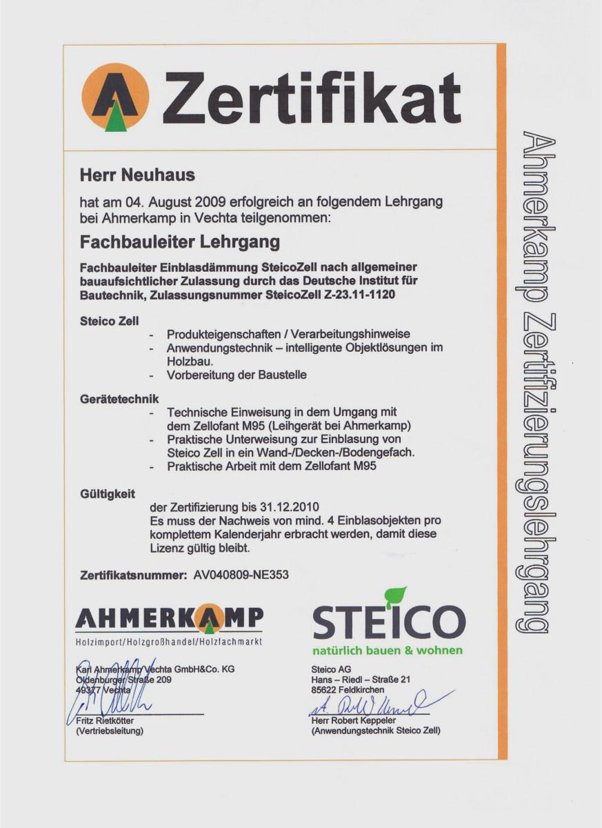 Dämmtechnik Neuhaus Visbek - Zertifikat SteicoZell
