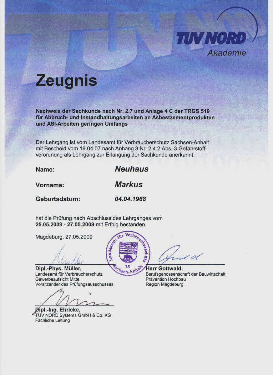 Dämmtechnik Neuhaus Visbek - Zertifikat TUEV