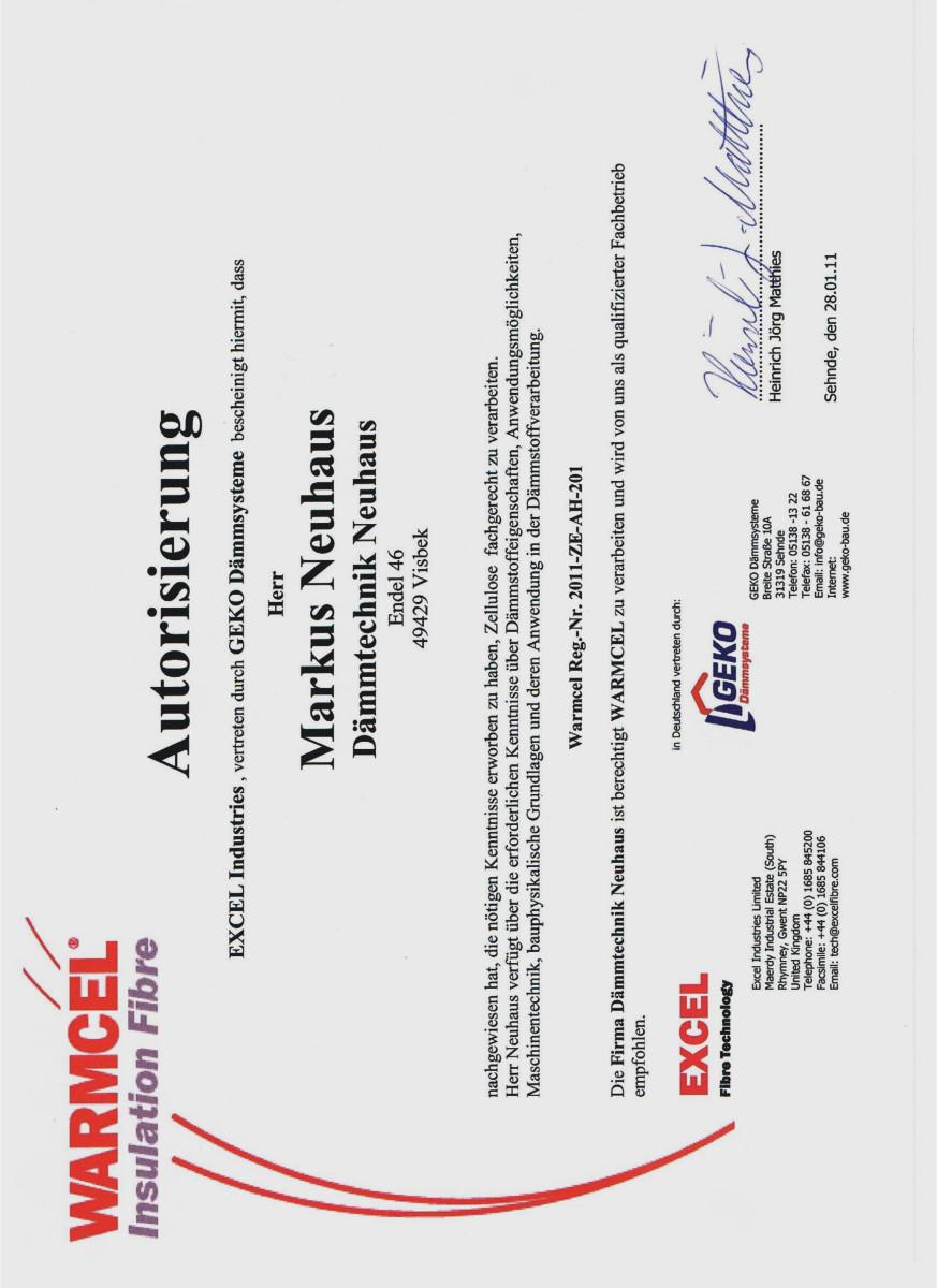 Dämmtechnik Neuhaus Visbek - Zertifikat WARMCEL
